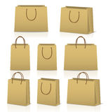 Blank paper shopping bags set  on white Royalty Free Stock Images
