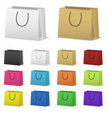 Blank paper shopping bags set  on white Royalty Free Stock Image