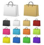 Blank paper shopping bags set  on white Royalty Free Stock Photo