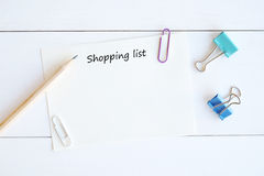 Blank paper for shopping list background Stock Images