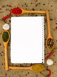 Blank paper and spices Stock Photography