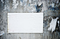 Blank paper stick on grungy wall Stock Photography