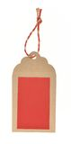 Blank paper tag. Blank red tag under brown background tied with rope stock photo