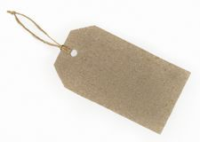 Blank paper tag. Blank tag tied with string isolated on white background Royalty Free Stock Photos