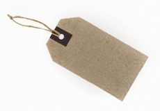 Blank paper tags. Blank tag tied with string isolated on white background royalty free stock images