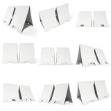 Blank paper tent cards. 3d render. Two blank paper tent cards set. 3d render illustration . Table cards mock up on white background Stock Photography