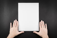 Blank paper waiting for idea with hands Royalty Free Stock Image