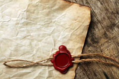 Blank paper with wax seal Royalty Free Stock Image