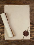 Blank paper with wax seal Royalty Free Stock Photography