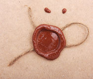 Blank paper with wax seal. Stock Images