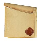 Blank paper with wax seal. Stock Image