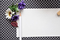 Blank Paper with White Pencil Royalty Free Stock Photos