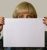 Blank paper and woman Stock Images
