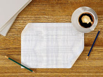 Blank paper on wood table with pencils and coffee cup Royalty Free Stock Photography