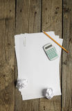 Blank papers, calculator and pencil Royalty Free Stock Photos