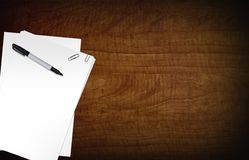 Blank Papers on Desk Stock Photos