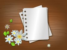 Blank papers. Illustration of wooden background with some blank paper sheets and white blossoms Royalty Free Stock Image