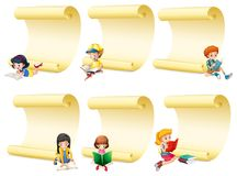 Blank papers with kids reading book. Illustration Royalty Free Stock Photo