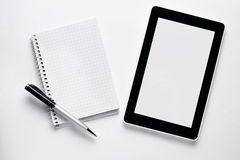 Blank Papers and Pen with Crumpled Papers on Sides Royalty Free Stock Photo