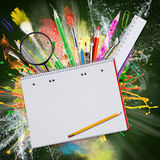 Blank papers with school supplies Stock Photo