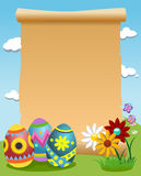 Blank Parchment Decorated Easter Eggs Royalty Free Stock Photos