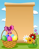 Blank Parchment Easter Basket Colored Eggs Royalty Free Stock Photography