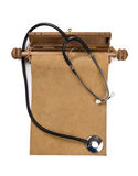 Blank parchment manuscript and stethoscope Royalty Free Stock Photography