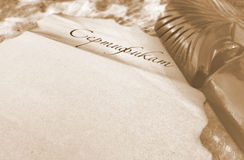 Blank parchment and mask Stock Photography