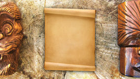 Blank parchment and mask Stock Photo