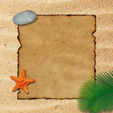 Blank Parchment on Sand Background Stock Images