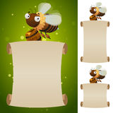 Blank parchment scroll and bee with honey. Honey bee with barrel of honey and blank parchment scroll. Design concept for honey fair banner Royalty Free Stock Photography