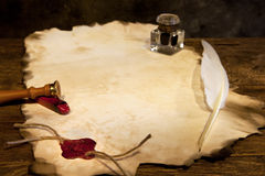 Blank parchment and wax seal Royalty Free Stock Photo
