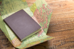 Blank passport with Map Stock Image