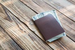 Blank passport with US dollars Stock Photography
