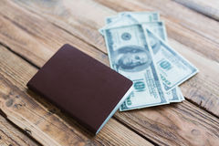 Blank passport with US dollars Royalty Free Stock Photography