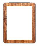 Blank PC tablet designed with wood mounting. By photographer Royalty Free Stock Images