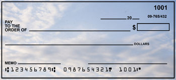 Blank Personal Check With Blue Sky Royalty Free Stock Image