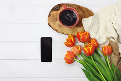 Blank Phone Coffee and Flowers Royalty Free Stock Photography