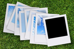Blank photo. On grass background Stock Photos
