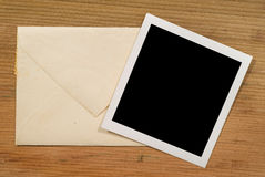 Blank Photo. And an old envelope stock images