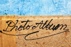 Blank photo album with wooden cover Royalty Free Stock Images