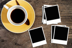 Blank photo on coffee table royalty free stock photography