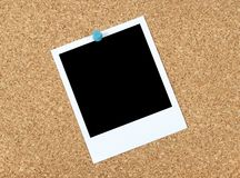Blank photo on a corkboard Royalty Free Stock Images