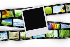 Blank photo with film. Blank photo and film with images Stock Images