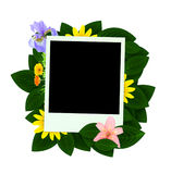 Blank Photo with Flowers and Green Leaves Stock Photography