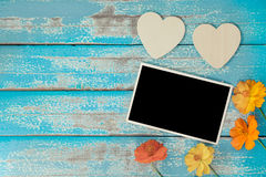 Blank photo frame album decorate with flower and heart shape Royalty Free Stock Photography