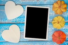 Blank photo frame album decorate with flower and heart shape Stock Photo