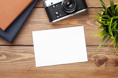Blank photo frame, camera and supplies Stock Photos