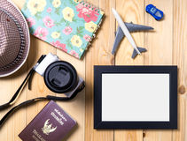 Blank photo frame with clipping path for travel blogs. Stock Photo