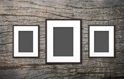 Blank photo frame on old wood Royalty Free Stock Photos